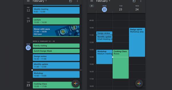 Google Calendar and Keep Get Dark Modes