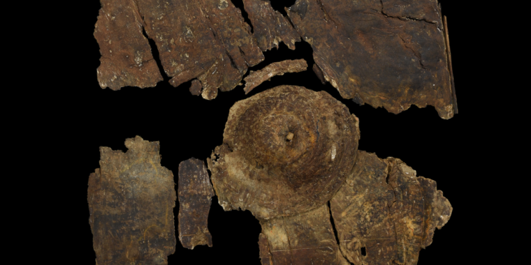 This 2,400-year-old bark shield took a beating in an Iron Age fight