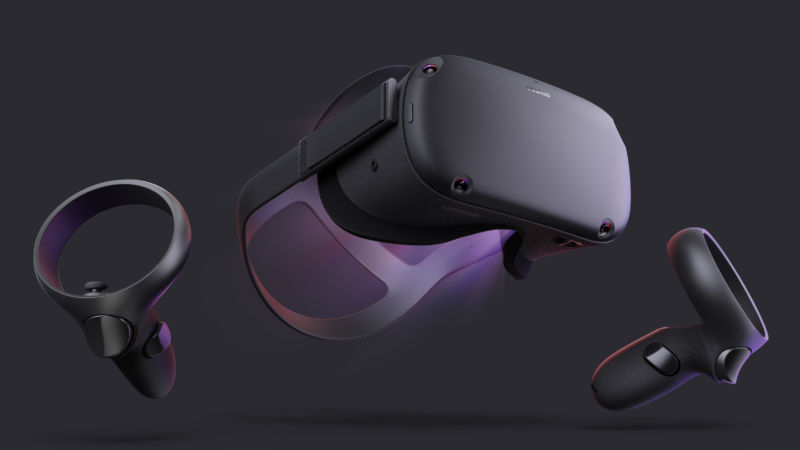 The Oculus Quest, as enjoyed by an invisible model.