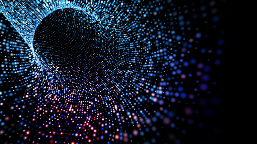 Abstract dots tunnel and waves.3d illustration