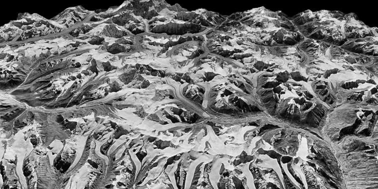 Declassified satellite images show how Himalayan glaciers have shrunk