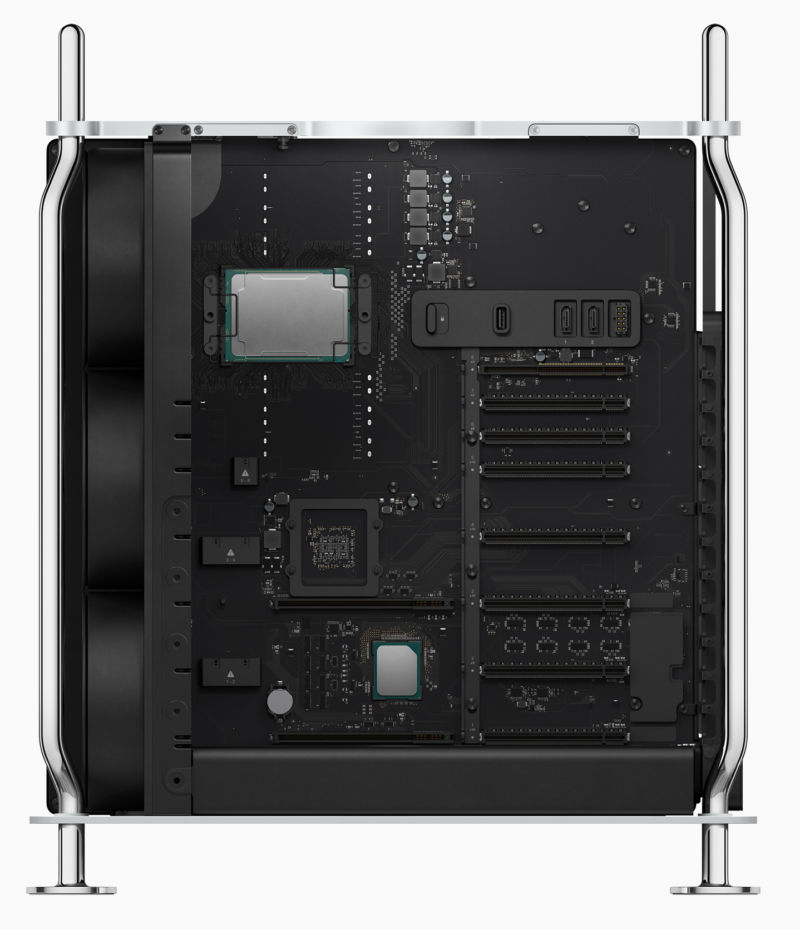 A Mac Pro with its cover off, showing the internal components.