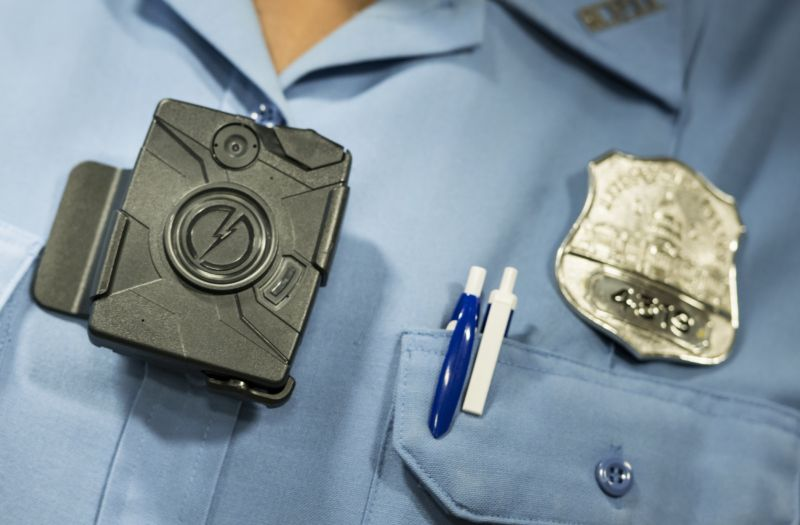 A body camera from Taser is seen during a press conference at City Hall September 24, 2014 in Washington, DC.