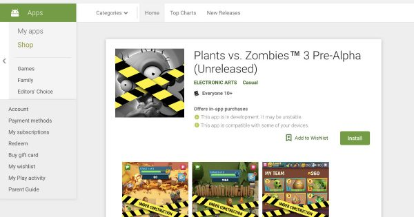 Go Play the Plants vs. Zombies 3 Pre-Alpha